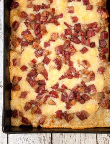 Overhead shot of Featured Detroit Style Rueben Pizza