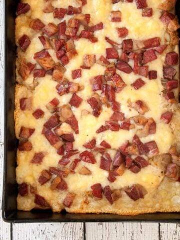 Overhead shot of Featured Detroit Style Rueben Pizza