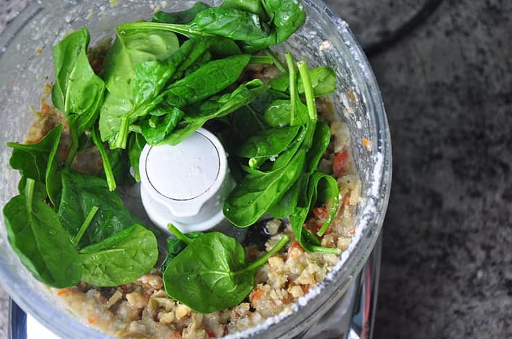 All ingredients blended in food processor except spinach