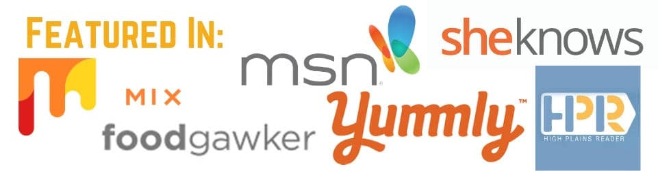 'Featured In - msn.com, SheKnows, Mix.com, yummly, High Plains Reader, and Food Gawker' with logos