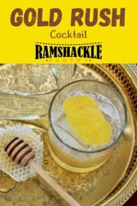 """""""Gold Rush Cocktail"""" and an overhead shot of the drink with a little bit of honeycomb, honey, and a honey dipper"""