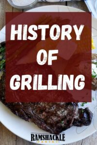 """""""History of Grilling"""" on top of a plate of grilled steak"""