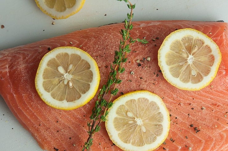 Lemon and thyme on salmon fillet
