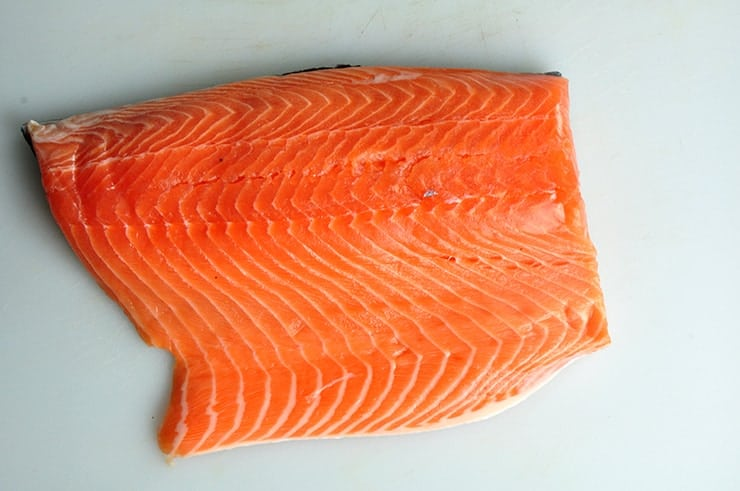 View of raw salmon fillet
