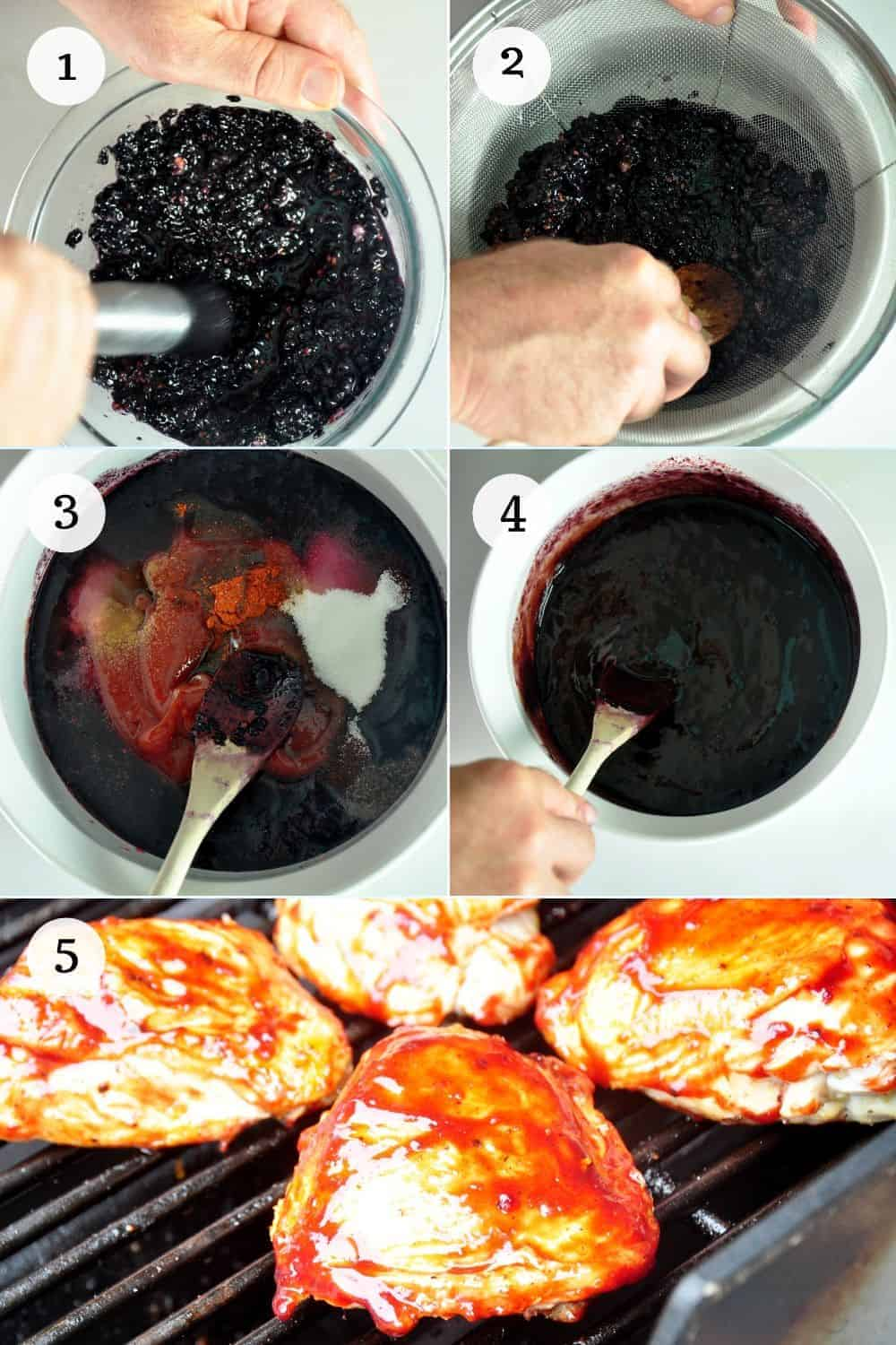 Numbered Process List for Cooking Blackberry Homemade BBQ Sauce Recipe and Grilling Chicken