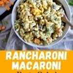 """Rancharoni Macaroni Pasta Salad"" showing a bowl of the dish on a picnic table."