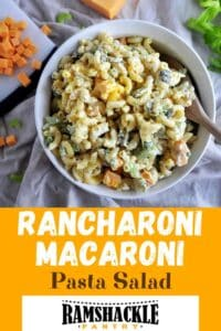 """Rancharoni Macaroni Pasta Salad"" showing a bowl of the dish on a picnic table."