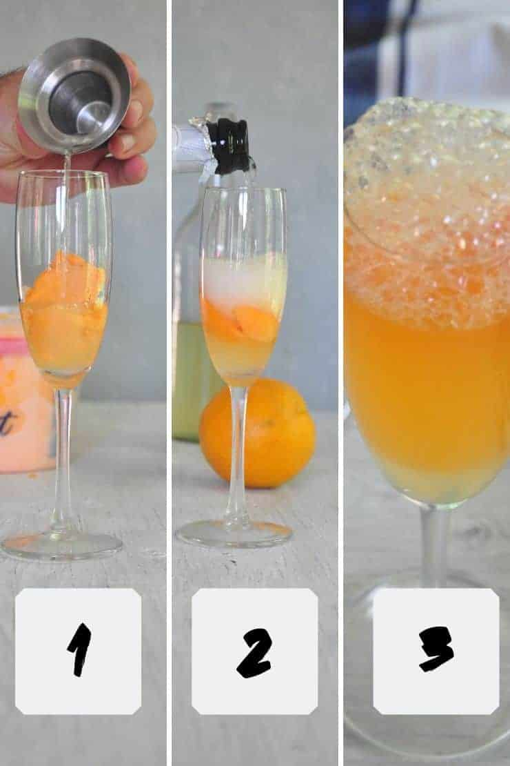Process Description for making the orange sherbet prosecco cocktail