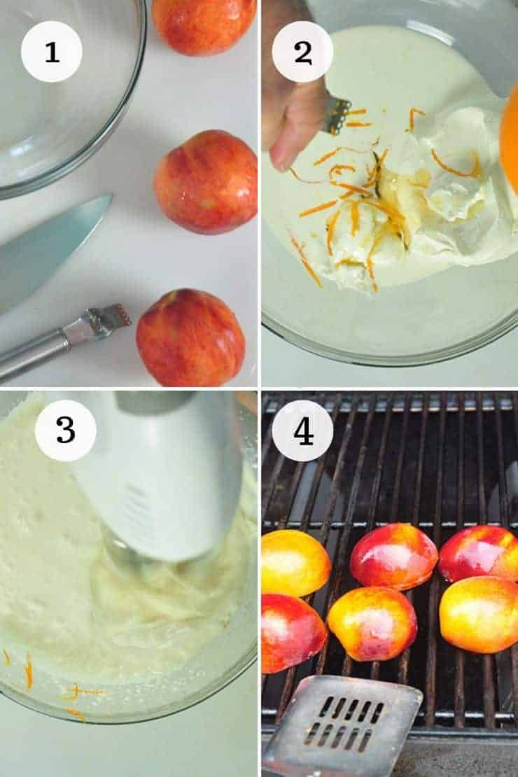 Process shots 1-4 for making Grilled Peaches with Honey Whipped Mascarpone recipe