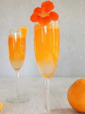 Two sprits prosecco cocktail s on a plain backdrop with a few oranges