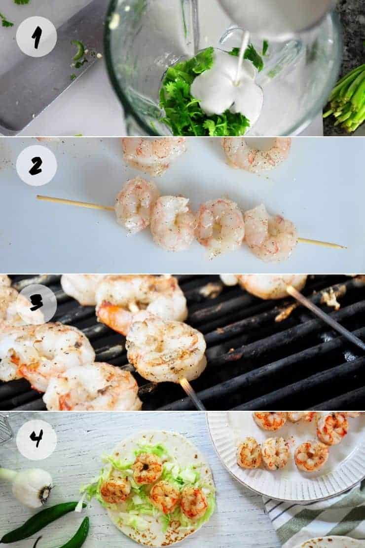 Four steps to create Chili Lime Shrimp Taco Sauce with Grilled shrimp