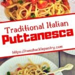 Traditional Italian Puttanesca sauce with two views of the traditional Italian sauce