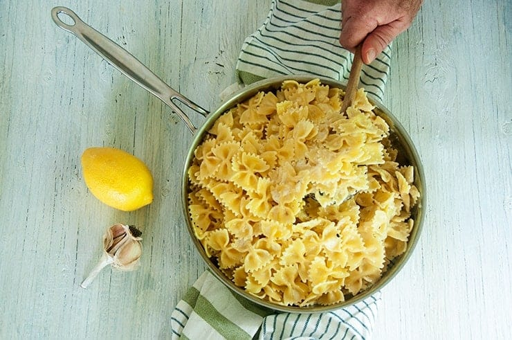 Overhead shot of the Creamy Lemon Butter Sauce and Farfalle pasta in the skillet