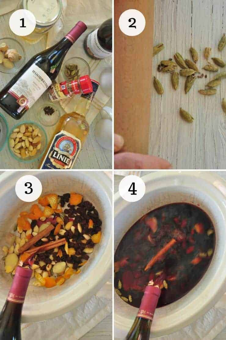 Process Shots of making glogg
