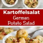 Kartoffelsalat - German Potato Salad and two images; one overhead shot of two bowls and another of a fork picking up a piece of potato salad.