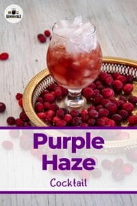 """""""Purple Haze Cocktail"""" with the drink pictured on a gold platter full of cranberries."""