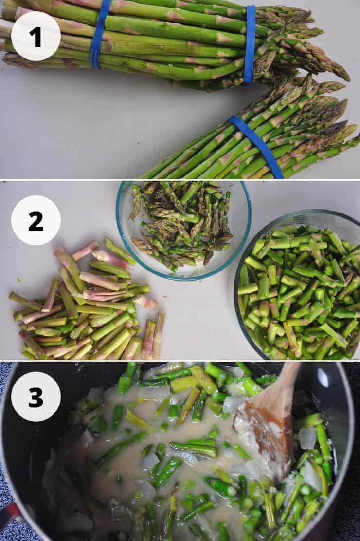 Process pictures of making asparagus soup and outlined below.