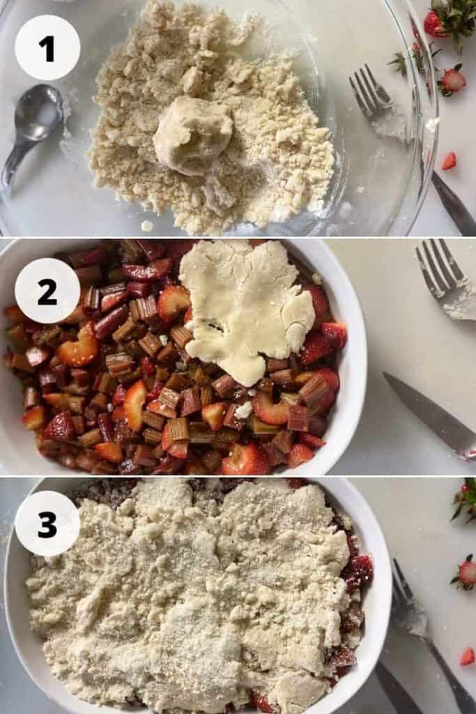 Process pictures 1 - 3 (described below) of making our Strawberry Rhubarb Cobbler.