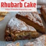 An entire Traditional Norwegian Rhubarb Cake on white parchment paper and dusted with powdered sugar.