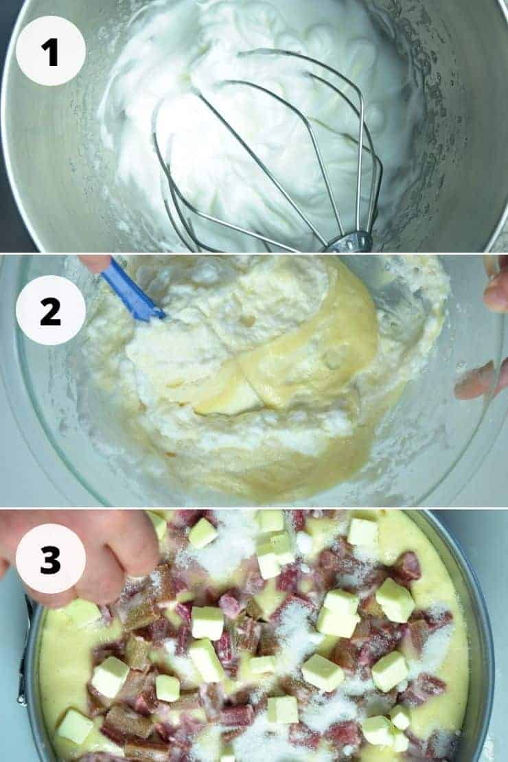 Three process images of making this cake, which are numbered and shown below.