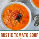 Rustic Tomato Soup with Fresh Garden Tomatoes on a white table.