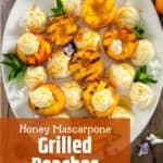 Grilled Peaches and Honey Whipped Mascarpone Cheese on a white plate.