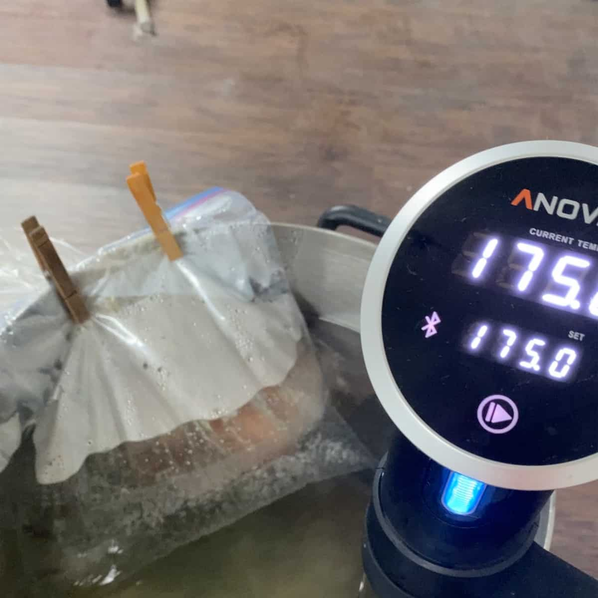 Sous Vide cooker set to 175 in a large pot with a corned beef roast and a bag of water on top weighing it down.