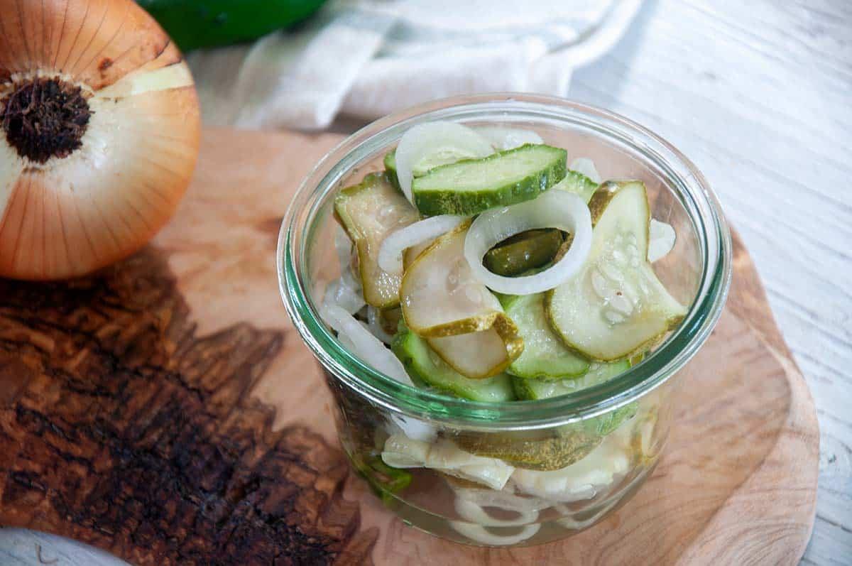 Refrigerator pickles in a Weck jar.